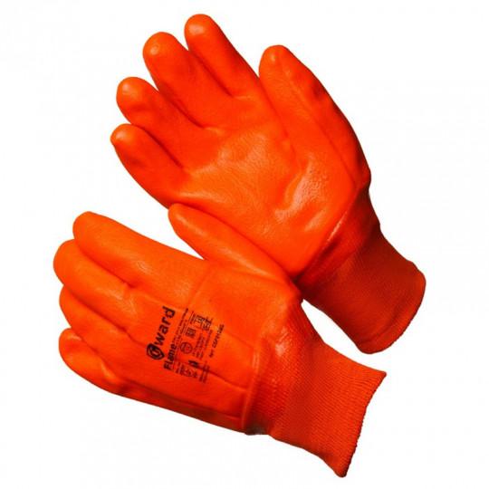 Трикотажные утепленные перчатки с оранжевым МБС покрытием Gward Flame