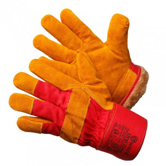 Утепленные улучшенные спилковые комбинированные перчатки Gward Ural Zima