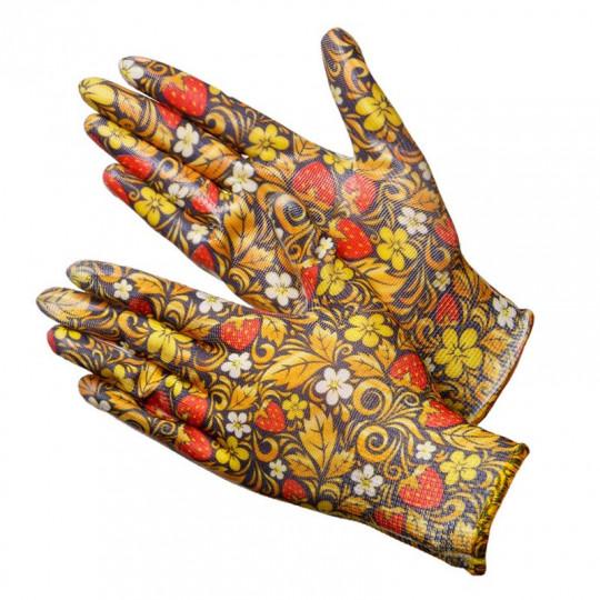"""Садовые перчатки с расцветкой """"Хохлома"""" Berry NN"""