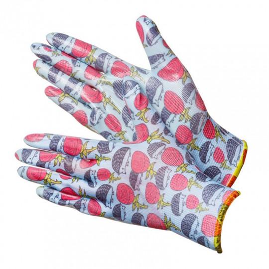 """Садовые перчатки с расцветкой """"Ежики и розы"""" Yo NN"""